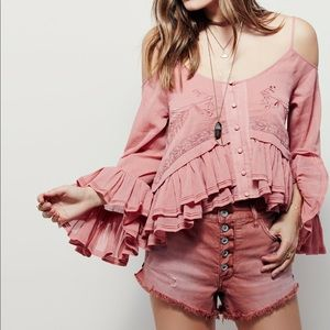 FP X Woodstock Gauze Open Shoulder Blush Blouse